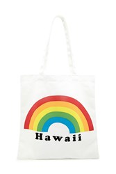 Forever 21 Rainbow Hawaii Graphic Tote Bag Beige Multi