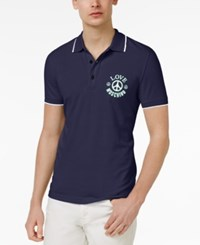 Moschino Love Men's Slim Fit Graphic Print Polo Navy