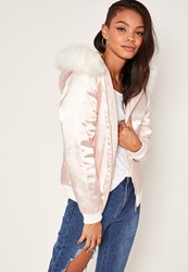 Missguided Satin Faux Fur Hood Padded Bomber Jacket Nude