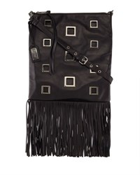 Badgley Mischka Lisa Napa Leather Fringe Tote Bag Black