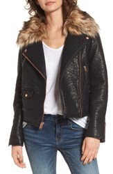 Andrew Marc New York Women's Beverly Faux Leather Jacket With Faux Fur Trim Black