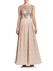 Kay Unger Sequined Jacquard Ball Gown Copper