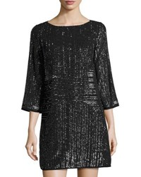 Laundry By Shelli Segal Beaded 3 4 Sleeve Cocktail Dress Gray Metallic
