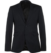 Burberry Navy Slim Fit Wool And Silk Blend Suit Jacket Midnight Blue