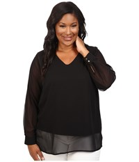 Vince Camuto Plus Size Long Sleeve Shirttail V Neck Blouse With Knit Underlay Rich Black Women's Blouse