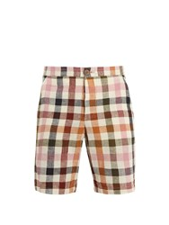 Oliver Spencer Mid Rise Cotton Seersucker Checked Shorts Pink Multi