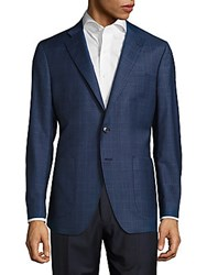 Saks Fifth Avenue Made In Italy Plaid Wool Blend Jacket Blue