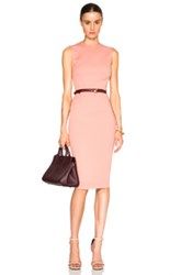 Victoria Beckham Microbrush Sleeveless Fitted Dress With Belt In Pink