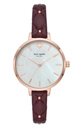 Kate Spade New York Metro Leather Strap Watch 34Mm Purple Mop Rose Gold