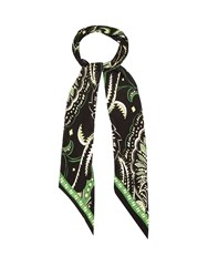 Rockins Prickly Paisley Print Skinny Silk Scarf Black Green