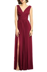 Dessy Collection Women's Surplice Ruched Chiffon Gown Burgundy