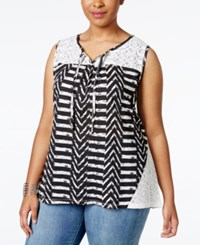 Styleandco. Style And Co. Plus Size Printed Sleeveless Peasant Top Only At Macy's Aztec Heather Black