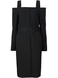 Vera Wang Off Shoulder Belted Coat Black