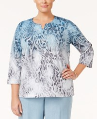 Alfred Dunner Plus Size Northern Lights Collection Ombre Animal Print Top Multi