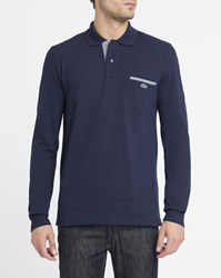 Lacoste Navy Contrasting Crocodile Logo Piped Pocket Long Sleeve Polo Shirt Blue