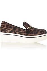 Stella Mccartney Binx Leopard Print Faux Calf Hair Platform Loafers