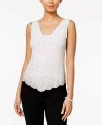 Msk Sleeveless Embellished Blouse Ivory