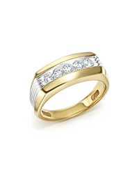 Bloomingdale's Men's Diamond 5 Stone Men's Ring In 14K Yellow And White Gold 0.50 Ct. T.W. White Gold