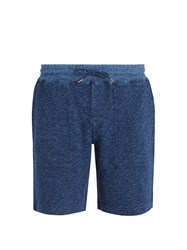 Faherty Mid Rise Cotton Shorts Blue