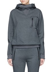 Particle Fever Reflective Logo Zip Pocket French Terry Hoodie Grey