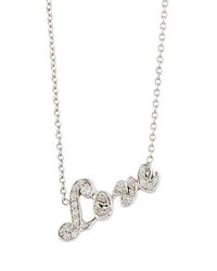 Penny Preville 18K White Gold Pave Diamond Love Pendant Necklace