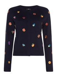 Paul Smith Ps By Embroidered Kyoto Cardigan Blue