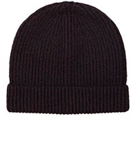 Rag And Bone Men's Roscoe Merino Wool Blend Beanie Burgundy Navy Burgundy Navy