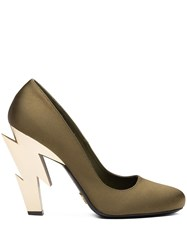 Prada Thunder Heel Pumps Green