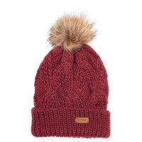 fe0af85b49d88 Barbour Ashridge Cable Knit Faux Fur Pom Pom Beanie Hat Carmine