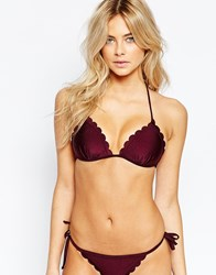 New Look Scallop Moulded Triangle Bikini Top Red