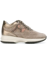 Hogan Metallic Lace Up Sneakers Nude And Neutrals