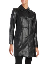 Gallery Button Front Leather Coat Black