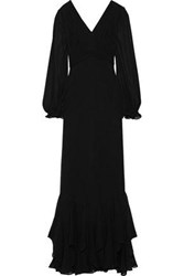 Mikael Aghal Woman Pleated Ruffled Chiffon Gown Black