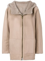 Sylvie Schimmel Hooded Shearling Jacket Nude And Neutrals