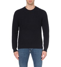 Sandro Electra Cotton And Wool Blend Jumper Blue Green