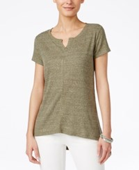 Styleandco. Style And Co. Ribbed High Low T Shirt Only At Macy's Olive Sprig