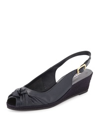 Loren Knotted Slingback Wedge Navy Sesto Meucci