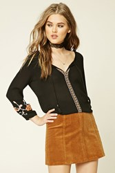 Forever 21 Embroidered Peasant Top Black Pink