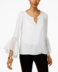 Thalia Sodi Bell Sleeve Keyhole Top Only At Macy's Washed White