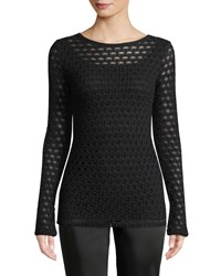 Fuzzi Open Pattern Long Sleeve Top Black