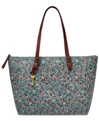 Fossil Rachel Large Tote Blue Floral Gold
