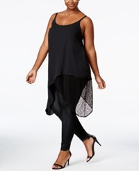 Mblm By Tess Holliday Trendy Plus Size Asymmetrical Tunic Black