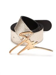 Giuseppe Zanotti Embossed Calf Leather Gold Logo Belt Platino