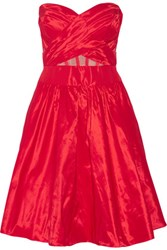 Marchesa Notte Tulle Trimmed Taffeta Mini Dress Crimson