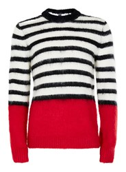 Topman Black White And Red Stripe Sweater Containing Mohair