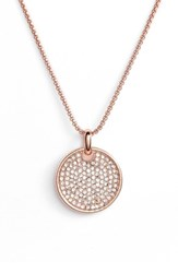Vince Camuto Pave Pendant Necklace Rose Gold Crystal