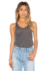 Bobi Tissue Jersey Scoop Neck Front Pocket Tank Gray
