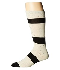 Richer Poorer London Cream Black Men's Crew Cut Socks Shoes Bone