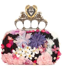 Alexander Mcqueen Embroidered Heart Knuckle Box Clutch Multicoloured