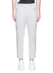 3.1 Phillip Lim Raw Cuff Cropped Cotton Jogging Pants Grey